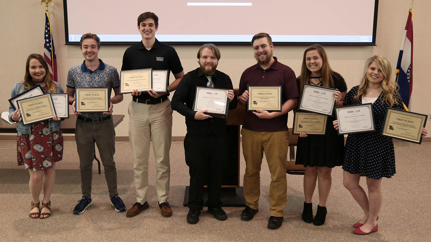 180510 CofO Student The Point Awards Photo 1time NOP - College of the Ozarks student newscast awarded by Missouri Broadcast Educators Association and Society of Professional Journalists