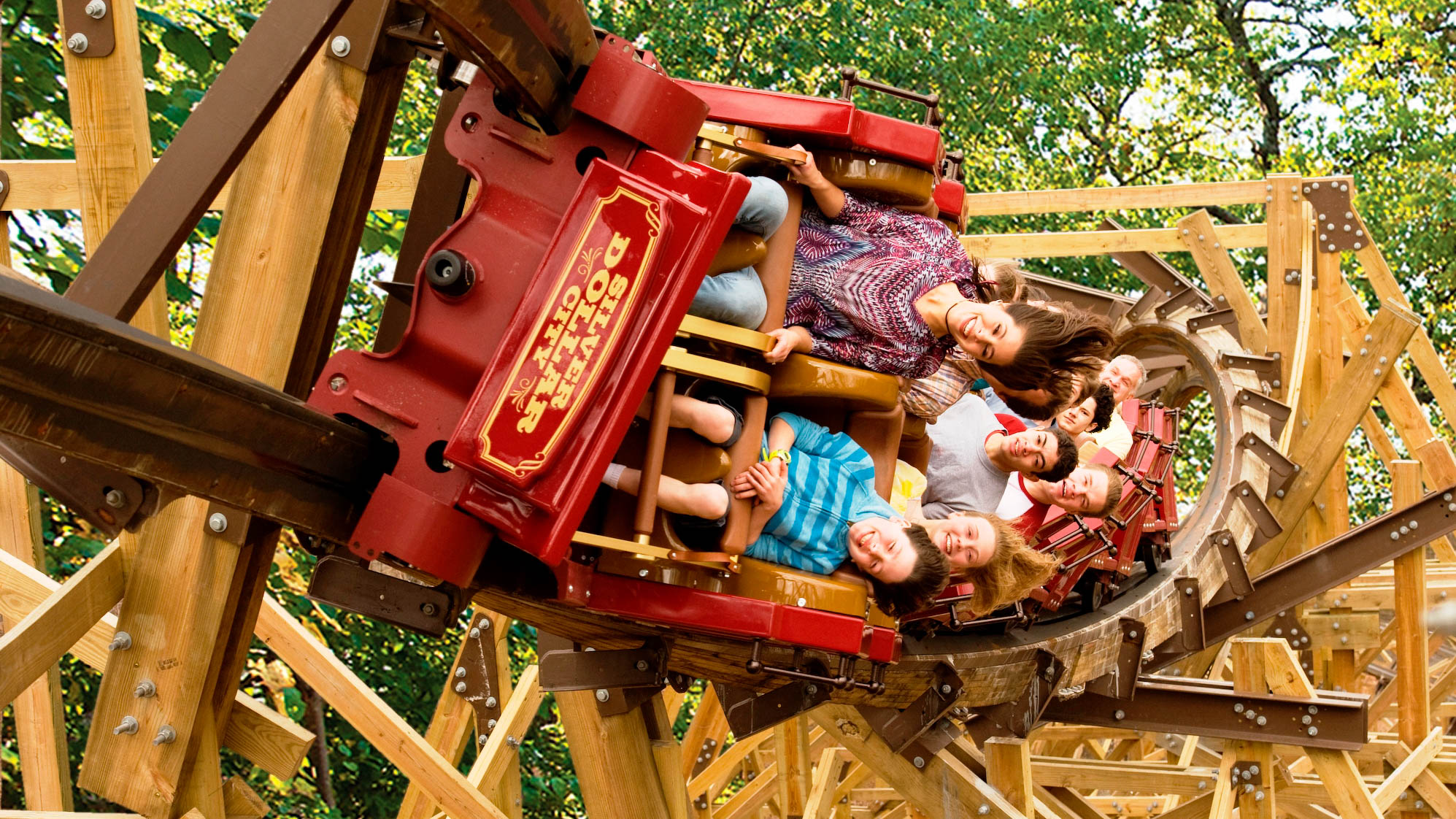 130319 SDC Outlaw Run barrel roll - Silver Dollar City one of Top 5 Amusement Parks in USA