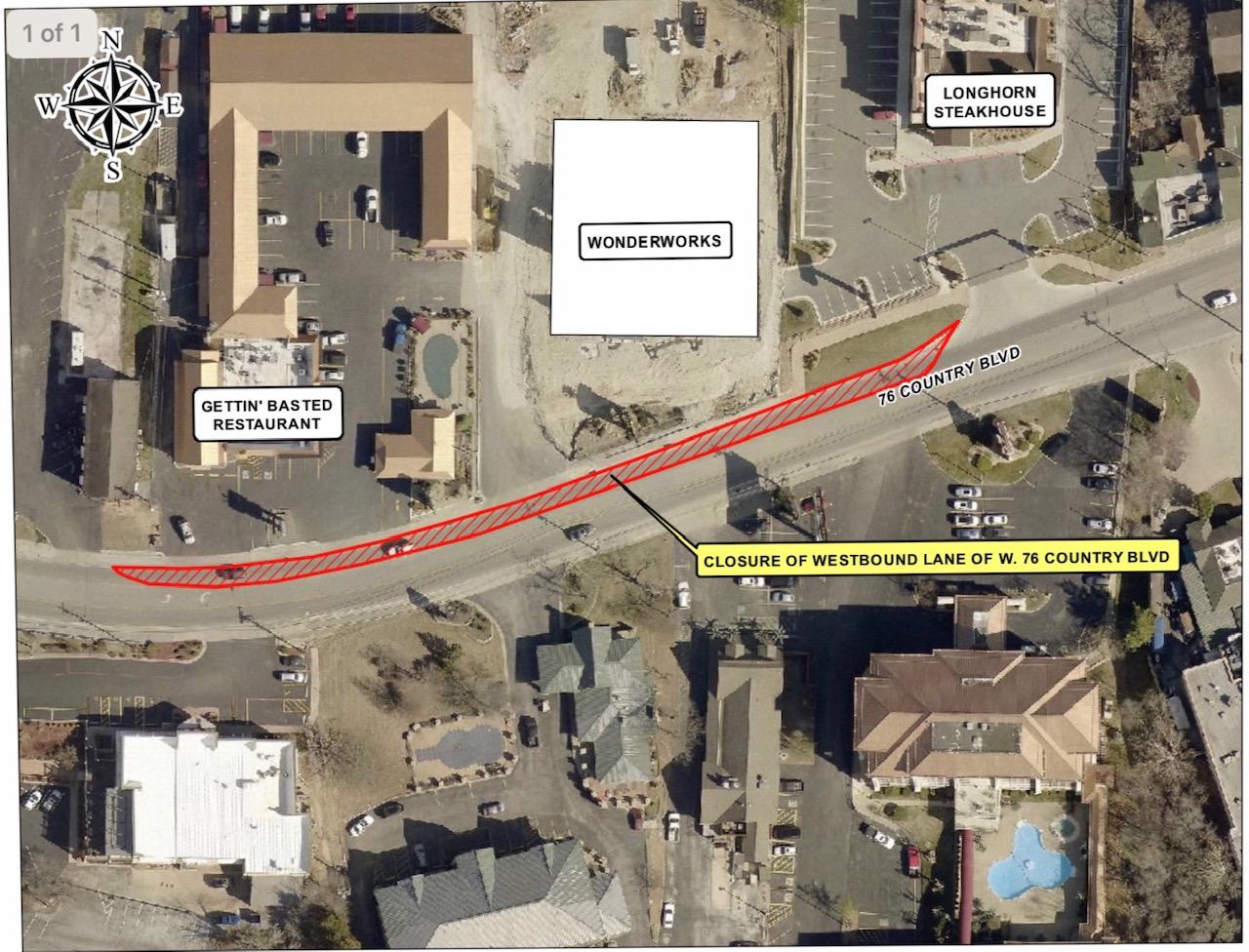 "200206 Hwy 76 closure 2020 Gettin Basted - Temporary Hwy. 76 daylight hours lane closure near ""Wonderworks"""